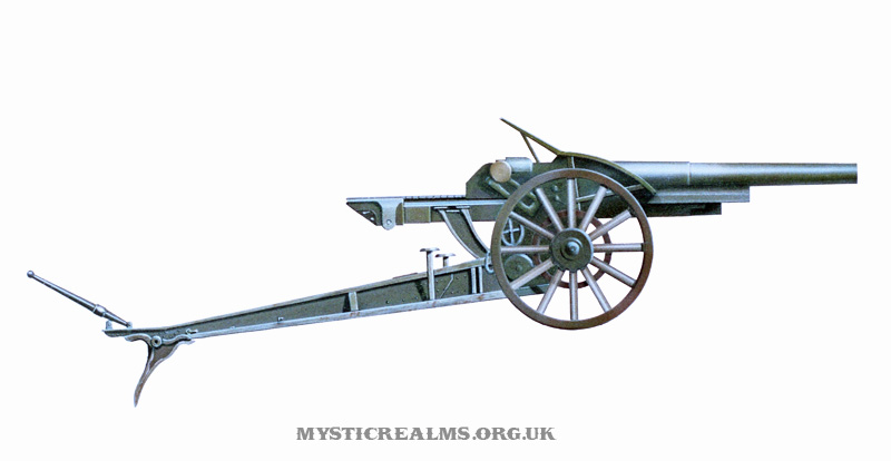 Schneider 10.5cm Field Gub M1917; airbrush illustration by Les Still